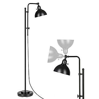 DEWENWILS Sleek Black Industrial Floor Lamp with Metal Shade, 58-65 Inches Adjustable Height, Task Floor Lamp for Living Room, Bedroom, Office, Rustic Standing Lamp for Reading