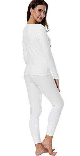 HieasyFit Women's Cotton Thermal Sets 2pcs Underwear Top & Bottom Pajama with Fleece Lined(Ecru XL) by HieasyFit (Image #3)