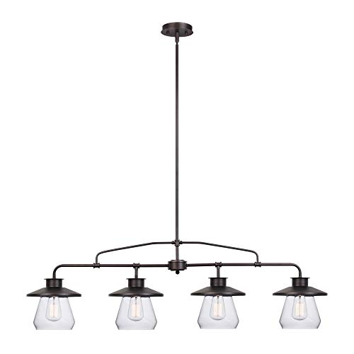 Globe Electric Nate 4-Light Pendant, Oil Rubbed Bronze, Clear Glass Shades 65382 ()