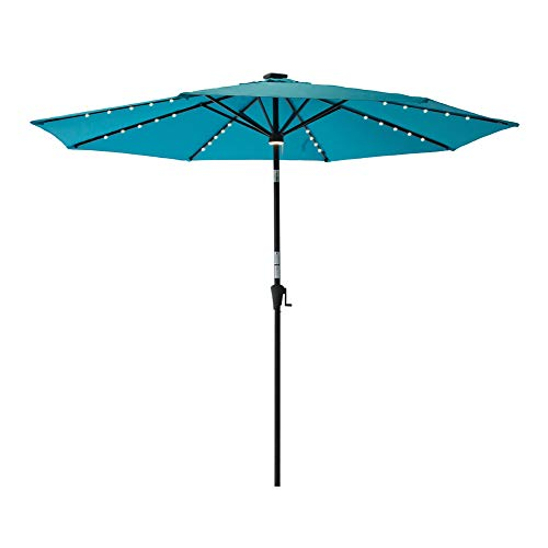 utdoor Patio Umbrella Solar Power Lights Crank Winder Push Button Tilt Aqua Blue ()