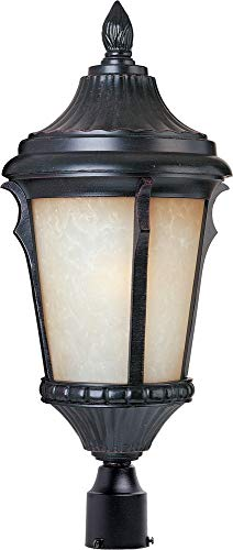 Maxim 3010LTES Odessa Cast 1-Light Outdoor Pole/Post Lantern, Espresso Finish, Latte Glass, MB Incandescent Incandescent Bulb , 50W Max., Dry Safety Rating, 2900K Color Temp, Standard Dimmable, Glass Shade Material, - Latte Finish Pendants
