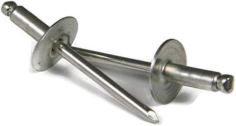 6-8 Set #Lig-1205NG Warranity by Pr-Mch New Lot of 250 Pcs Large Flange Pop Rivets 3//16 x 1//2 Aluminum Body Steel Mandrel