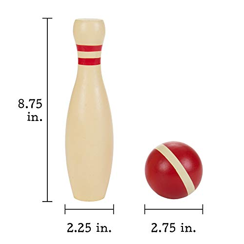 Deluxe Natural Wood Lawn Bowling Set with Ten 9 Inch Pins & 2 Balls - Includes Bonus Carrying Bag! by BBG (Image #3)