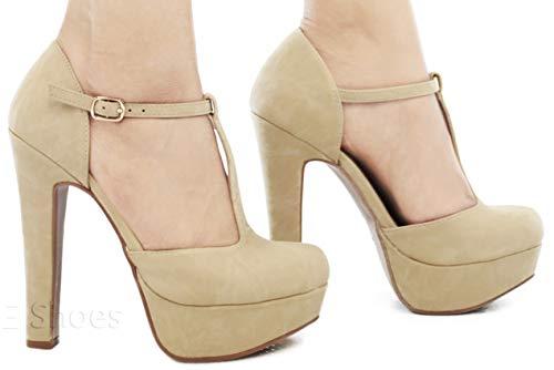 MVE Shoes Women's Ankle Strap Almond Toe Pumps-Shoes, Henley NAT nbpu - Almond Pump Toe