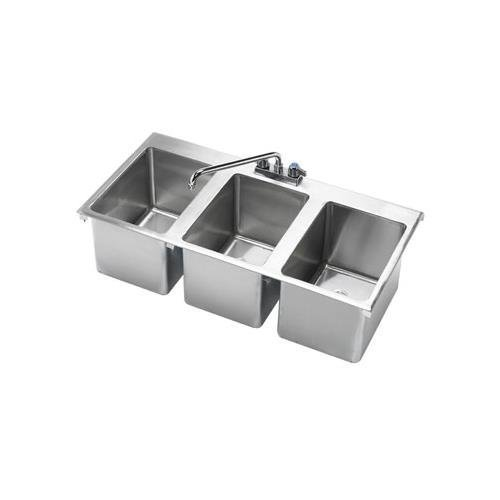 Krowne HS-3819 - 36'' x 18'' Three Compartment Drop-In Hand Sink by Krowne