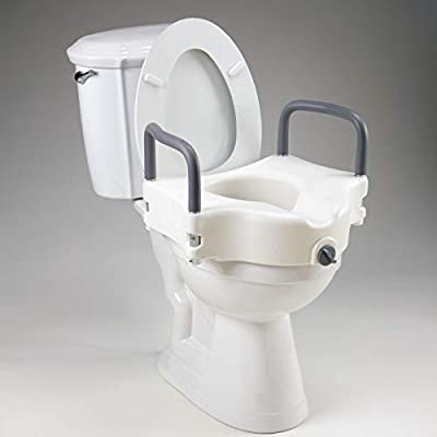 Homecraft Elevated Toilet Seat, Raises Existing Seat, Seat with Locking Screw, Portable Medical Aid for Elderly, Disabled, Limited Mobility, Elevated Seat with Removable Padded Arms, Handrails