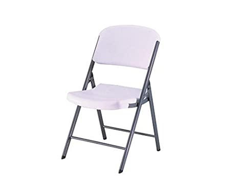 Lifetime 32804 Folding Chair With Molded Seat And Back, White Granite