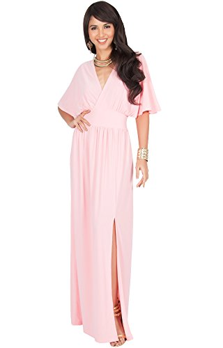 Gown Sleeve Jersey (KOH KOH Plus Size Womens Long Sexy Kimono Short Sleeve Slit Split V-Neck Party Cocktail Evening Bridesmaid Wedding Guest Sun Gown Gowns Maxi Dress Dresses for Women, Light Pink XL 14-16)
