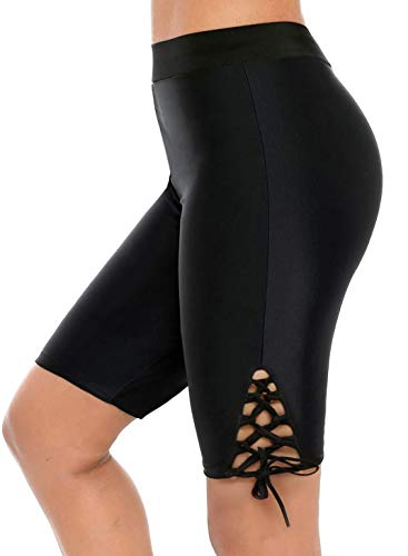 - Neeseelily Women Long Board Shorts High Waist Swimsuit Leggings Lace Up Capris Swim Pants Sun Protective (Medium, Black)