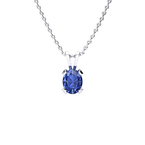 3/4 Carat Oval Shape Tanzanite Necklace In Sterling Silver, 18 Inches