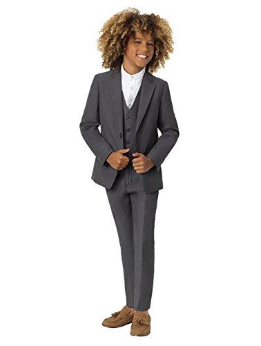 Roco Boys Gray Modern Fit Suit, 3 Piece Wedding Suit, Jacket, Vest & Pants Set, 16