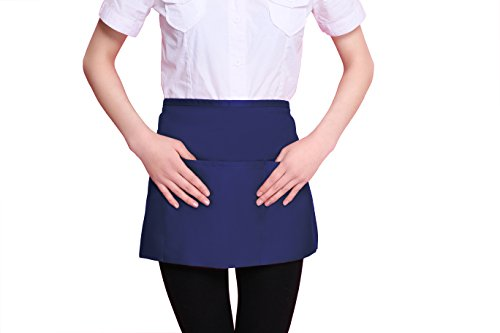 SilkLove Professional Waist Chef Apron with 3 Pockets,Durable Spun Poly Cotton, Brief paragraph,Unisex,Durable,String Adjustable,Comfortable,(24x12 inches,Navy) (Blue 3 Pocket Waist Apron)
