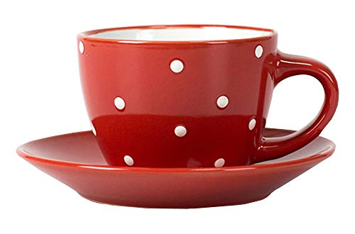 FUYU Polka Dot Ceramic Coffee Cup and Saucer Set Wave Point Color Tea ()