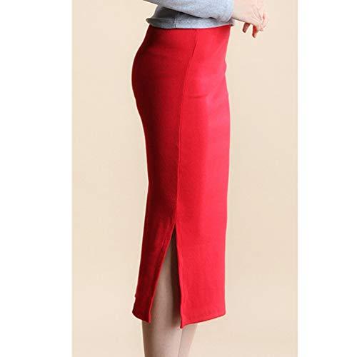 Fonc Crayon Bodycon Fente lasticit Taille Classique Droite avec Jupe Femmes Haute Rouge Xinwcanga xqBp1YaPwn
