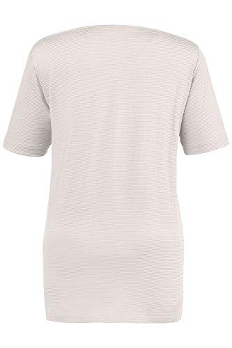 Ulla Popken Damen große Größen | Strukturringel-Shirt | Rundhalsausschnitt | Seitenschlitze | Halbarm | Passform: REGULAR | bis Größe 62+ | mattes perlmutt 50/52 663248 19-50+