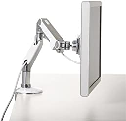 Humanscale M8 Adjustable Articulating Monitor Arm - Two Piece Clamp On Mount with Base - Polished