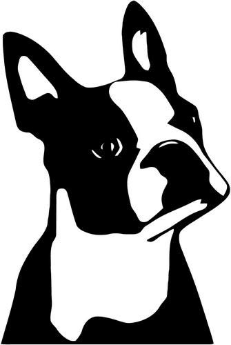 Mandy Graphics Boston Terrier Head Dog Pet Owner Vinyl Die Cut Decal Sticker for Car Truck Motorcycle Windows Bumper Wall Home Office Decor Size- [8 inch/20 cm] Tall and Color- Gloss Black