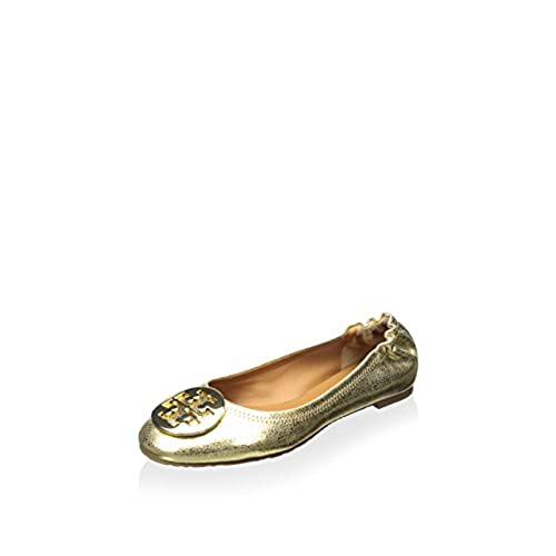 b8a6045db durable modeling Tory Burch Womens Reva Mirror Crackle Leather Ballet Flats