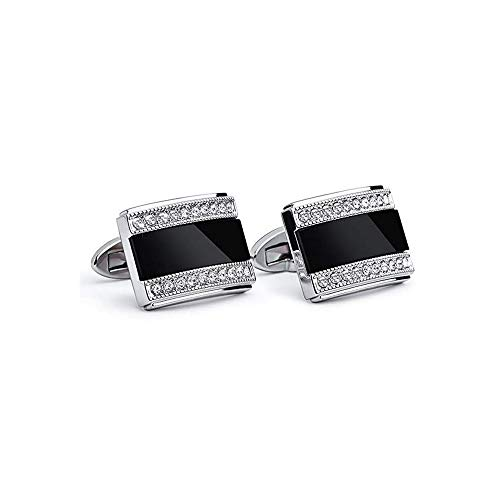 (Xiuxian Jewelry White Crystal CZ Stones Men's Shirt Cuff Links Rectangle Cat Eye Stone Inlay Cufflinks)