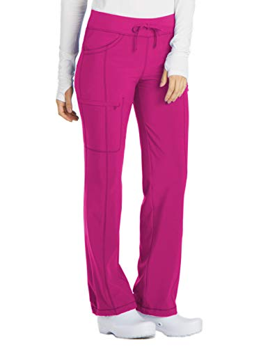 Cherokee Women's Infinty Low Rise Straight Leg Drawstring Scrub Pant, Carmine Pink, Large ()