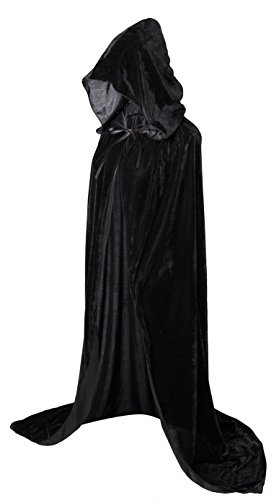 VGLOOK Full Length Hooded Cloak Long Velvet Cape for Christmas Halloween Cosplay Costumes 59inch Black]()