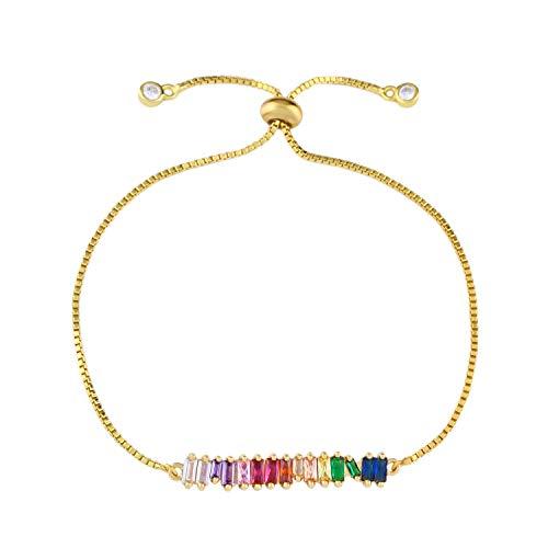 OCESRIO CZ Rainbow Adjustable Chain Bracelet for Women Girls Colorful Cubic Zirconia Fashion Jewelry Gift 14K Gold…