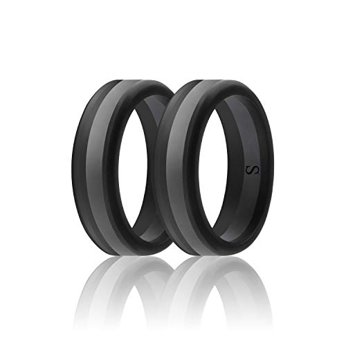 (SANXIULY Men's Functional Silicone Ring&Rubber Wedding Bands for Workout and Sports Width 8mm Pack of 2 Size 13)