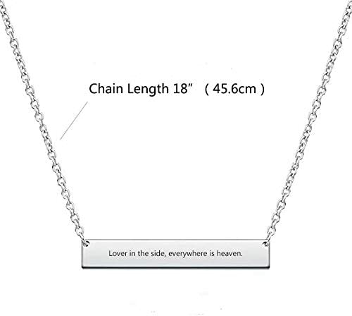 chain 18 inch Custom Necklace Personalized Bar Necklace Charm Jewelry Gift for Women and Men