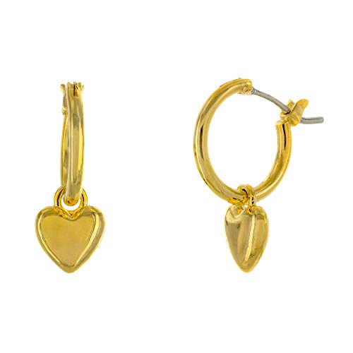 - Columbus 14K Gold Plated Heart Charm Huggie Hoop Earrings - Dangle Heart Drop Earrings - Small Sleeper Hoops (Gold Hearts)