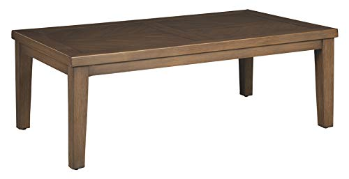 Ashley Furniture Signature Design - Paradise Trail Outdoor Cocktail Table - Aluminum Frame - Wood Look Finish - Medium Brown