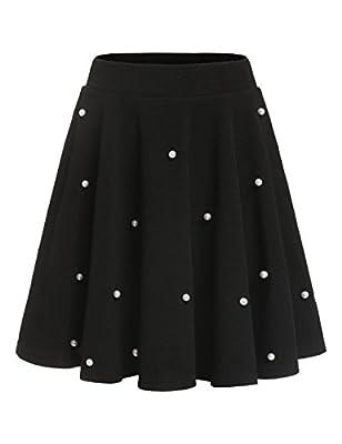 Romwe Women's Stretchy High Waist A-Line Flared Swing Mini Skater Skirt