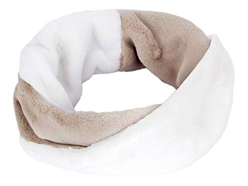 Futrzane Women Two-coloured Infinity Scarf Faux Fur Snood (White Beige)
