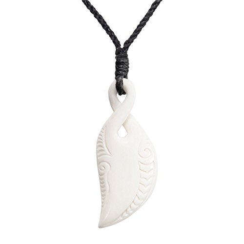 81stgeneration Women's Men's Hand Carved Bone Maori Pikorua Single Twist Pendant Necklace