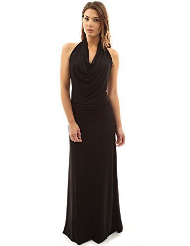 PattyBoutik Women's Halter Drape Front Blouson Maxi Dress (Black S)