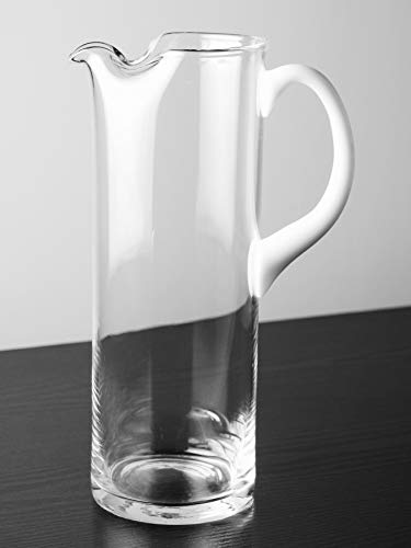 Jug Opal - Barski - European Quality - Glass - Straight Sided Glass Pitcher with Opal (White) Handle - With Spout And Ice Lip 11