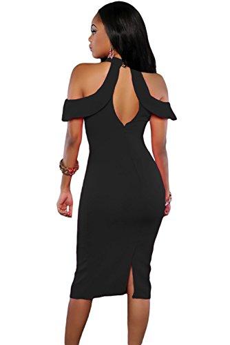 Negro Cute frío hombro recorte Halter Cuello Bodycon Vestido De Midi Club Wear TAMAÑO S UK 8–�?0