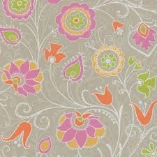 Eijffinger Suzani Floral Trail Leaf Chic Bright Feature Wallpaper Taupe 314021