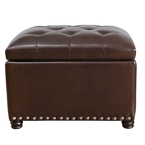 DecentHome Tufted Leather Rectangular Storage Bench Ottoman