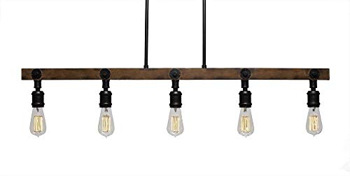 (Toltec Lighting 1135-AT18 Portland 5 Light Island Bar with Bulbs Amber Antique)
