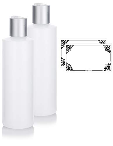 Clear Natural Refillable Plastic Squeeze Bottle with Disc Cap - 8 oz (2 Pack) + ()