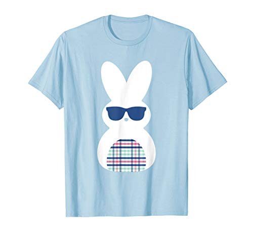 Cute Plaid Happy Easter Bunny Blue T Shirt Top ()