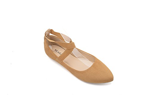 Padded Flat Comfortable Ankle 1 Mila Shoes Tan Up Ballet Lace Insole Toe Fashion With Lady Straps Pointed 7ffqwzIOa