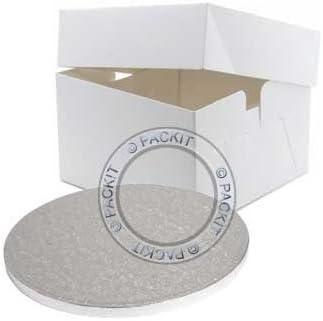 Caja para tarta (36 cm aprox., incluye base), color blanco: Amazon ...
