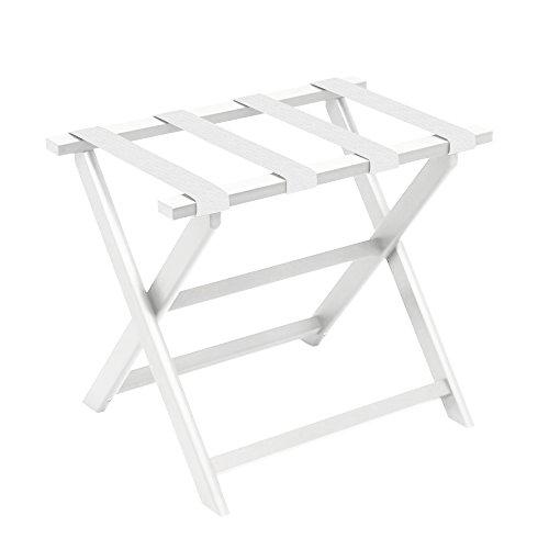 White Eco-Poly Folding Luggage Rack with 4 White Nylon Straps ()