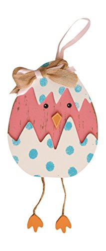 Spring Easter Chick Wooden Hanging Decoration with Dangling Legs (Pink) (Pink Easter Spring)
