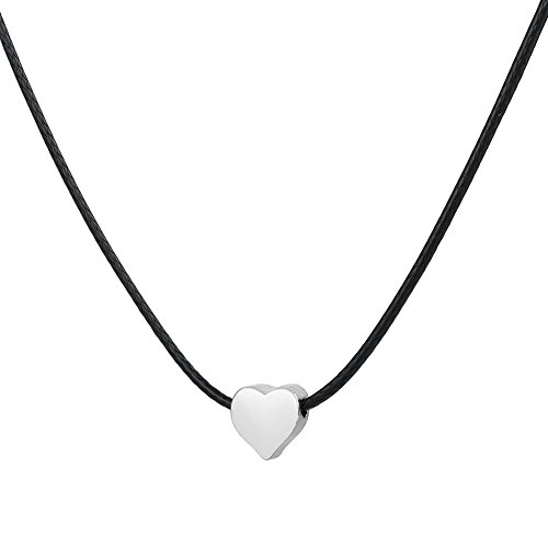 Heart Pendant Necklaces White Gold Plated Charm Black Leather Delicate Fashion Jewelry for (Delicate Leather)