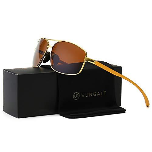SUNGAIT Ultra Lightweight Rectangular Polarized Sunglasses 100% UV protection (Gold Frame Brown Lens, 62) Metal Frame 2458 JKC