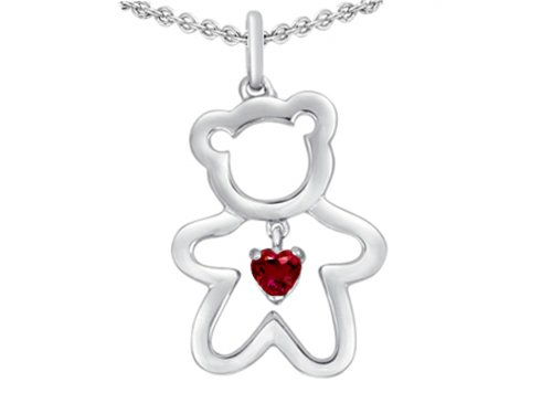 Star K Love Teddy Bear with 4mm Heart Shape Created Ruby Sterling Silver