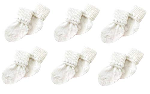 6 Pack Cotton Unisex Baby Socks (3-6 Months) by Nurses Choice (White)]()