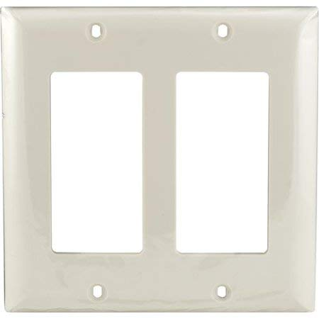 2 Pack Decorator Light Almond Double Rocker Unbreakable Standard Size GFCI Devices Timer Sensor Finish Paddle WallPlate Outlet Cover Wall Plate for Dimmer,Light Switch
